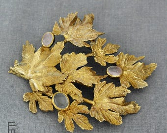 Beautiful BROOCH with grape leafs details - a very unique piece – a special jewelry work with natural stones of ROSE quartz and MOONSTONE