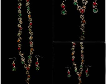 Gold Spiral Holiday Necklace and Earrings