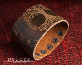 Celtic Leather Bracelet, Viking Bracelet, Men's Leather Wristband, Norse Leather Bracelet, Nordic Leather Bracelet Cuff , Mens Cuff Bracelet