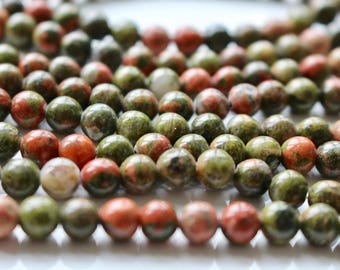 6mm Unakite beads, full strand, natural stone beads, round, 60020