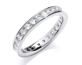 925 Sterling Silver 3mm Full Channel Set Cz Eternity Ring Hallmarked
