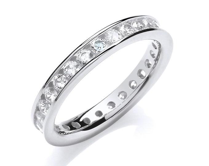 925 Sterling Silver 3mm Full Channel Set Cz Eternity Ring Hallmarked