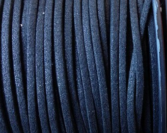 1 m of 3mm wide black glitter suede cord