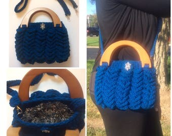 Wood Handle Bag/blue Bag/Blue Handbag/Crochet Bag/Crochet Purse/Crochet/Handmade Bags/Handmade Purse by Justneedleandthreads/FREE SHIPPING