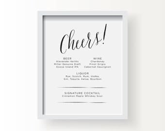 8x10_Black on White Wedding Sign_Cheers Bar Menu
