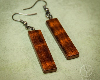 Wooden Jewelry, Wooden Earrings, Spanish Cedar, Wooden Dangle Earring, Nature, Natural, Earth, Tree, 5th Year Anniversary