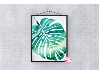 Emerald Green Watercolour Palm Leaf Wall Art A2 Poster Print TOP QUALITY PRINT