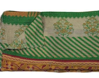 Handmade Reversible Vintage Kantha Quilt Twin Old Cotton Kantha Bedspread Kantha Gudri Cotton Blanket 28