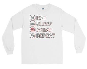Distressed Eat Sleep Anime Repeat Long Sleeve T-Shirt, anime shirt, anime gift, anime t-shirt, anime clothing, eat sleep repeat