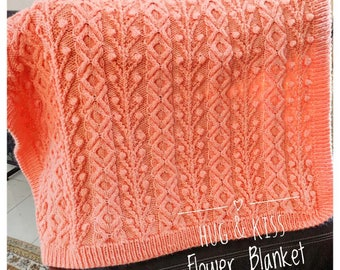 Knitting Pattern - Hug and Kiss Flower Baby Blanket