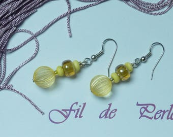 "Silver Earring jewelry ""yellow ball"""