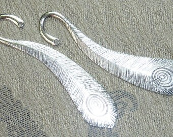 "Bookmark ""Peacock feather"" 105mm metal silver"