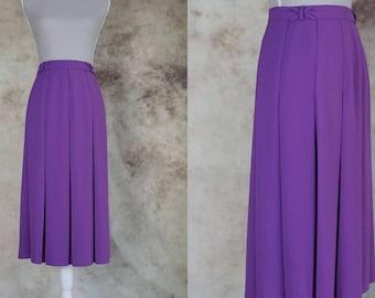 80s High Waist Skirt, Pleated Skirt, Purple Skirt, Vintage Midi Skirt, Mod Skirt, Size S, Size M, Small Medium, Festival Clothing