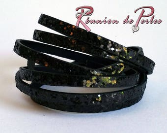 1.2 metres of faux leather cord, black glitter, 5 x 2 mm