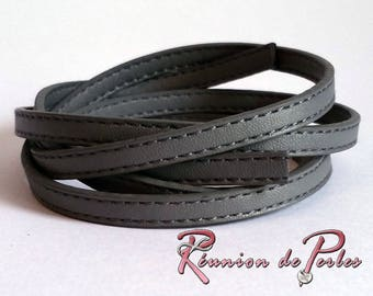 1.2 meter cord flat gray faux leather stitched 6.5 x 2.5 mm