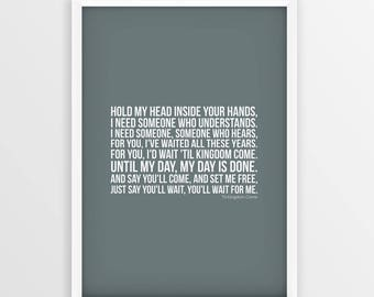 Coldplay song etsy coldplay til kingdom come lyrics print picture poster unframed a4 a3 sizes stopboris Image collections