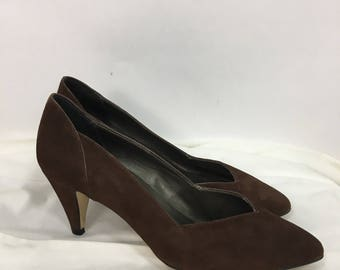80s brown leather shoes/vintage leather pumps size 6