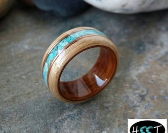 Bentwood Eucalyptus and Rosewood ring with Turquoise and Copper inlay alternative wedding rings