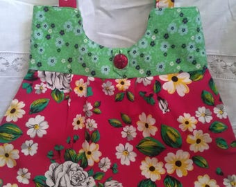 Hand made sewn pretty bright floral red green fabric shoulder bag handbag vintage style button fastening pleat detail hippy festival boho