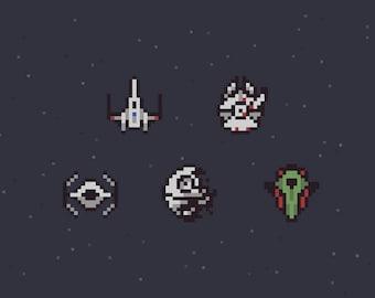 Space, Star Wars, & Super Nintendo / Pixel Art / Illustration / Print