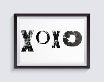 Custom real letter press traditional print poster -XOXO (A5,A4,A3)-  wedding gift, christmas gift, anniversary gif, valentine's day gift