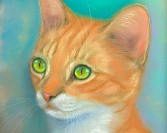 Ginger Tabby Kitten Original Pastel Painting