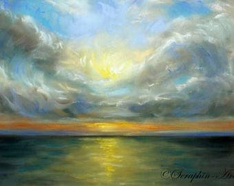 Sea Sunset Original Pastel Painting