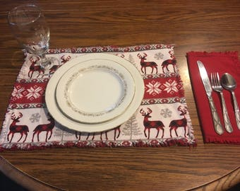 Flannel place mats and napkins