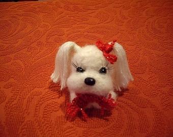 Lapdog, Maltese, Dog, Knitted Dog, Miniature, Amigurumi, Amigurumi Dog, Soft Toy, Gift, Handmade.