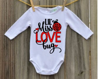 Valentines Day Shirt - Valentine's Day Outfit - Little Miss Love Bug - Ladybug Shirt - Ladybug Shirt - Bodysuit - Valentine's Day Shirt