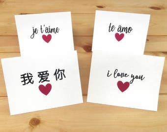 I love you cards, Je t'aime, te amo, Wo ai ni,