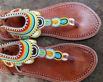 Beaded Sandals Etsy