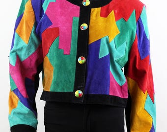 Yessica Women's Vintage Multicolor Patchwork Leather Jacket