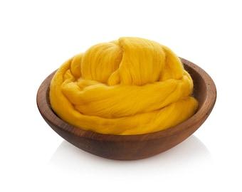 Yellow Wool Buns Roving - 24 Microns Merino Wool -  Needle Felting - Soft Wool Roving - Wet Felting - Wool for Spinning - Vivid Yellow Wool