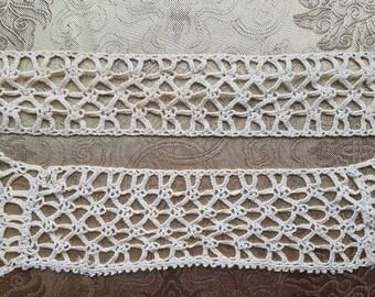 Antique Crochet Lace Trim Primitive Edging Coarse Sewing Crafts Lot of 2 #36