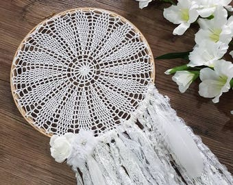 Boho, chic and white doiley wedding or home decor dreamcatcher