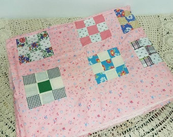 Vintage Pink Patchwork Cotton Quilt Topper