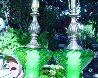 Mid Century Hollywood Regency Emerald Green Table Lamps