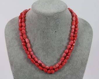 Necklace necklace Angel skin coral 2 rows