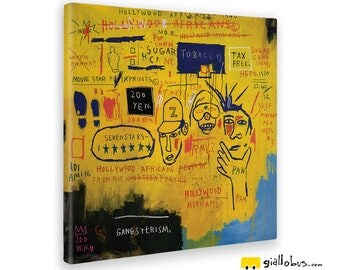 Modern paintings-Jean Michel Basquiat-Hollywood Africans-yellow BUS