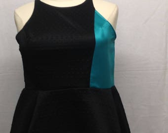 Black and teal blue top