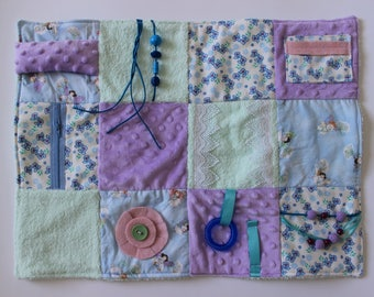 Fidget Blanket - Fairy Garden - Dementia Alzheimer's - Fidget Quilt - Sensory Blanket - for adults - Lap Pad - Activity Blanket LLBQ-009SFMA