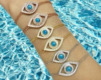 Evil Eye Bracelet | Sterling Silver Turquoise Evil Eye Bracelet | Evil Eye Chain Bracelet | Sterling Silver Evil Eye Chain Bracelet