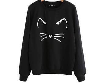 Cute fashion Cat print/design jumper. UK based. Size Small (UK size small).