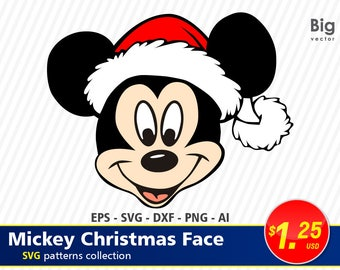 Christmas mickey mouse face EPS SVG Png Ai Dxf Disney, Icon Mickey Mouse, Christmas, Digital, Download, TShirt, Cut File, SVG, silhouette