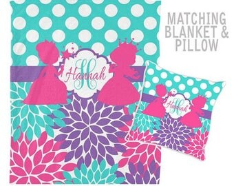 PRINCESS Blanket, Princess Pillow, Blanket Pillow Set, Girl MONOGRAM Blanket, Princess Birthday Gift, Personalized Girl Nursery Blanket
