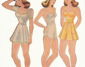 Vintage Forties 'Fuzzy' Paper Dolls ' Three Sisters'