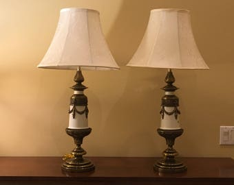 Brass & Ivory Lion Head Lamps - Pair