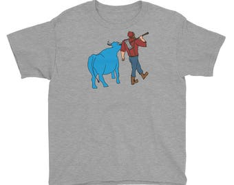 Paul Bunyan/Babe the Blue Ox Native Minnesota Youth Short Sleeve T-Shirt