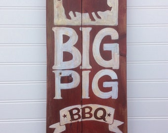Bbq pig sign.Barbeque art for your bar b q pit,patio, kitchen or mancave.Rustic handpainted pig on wood.